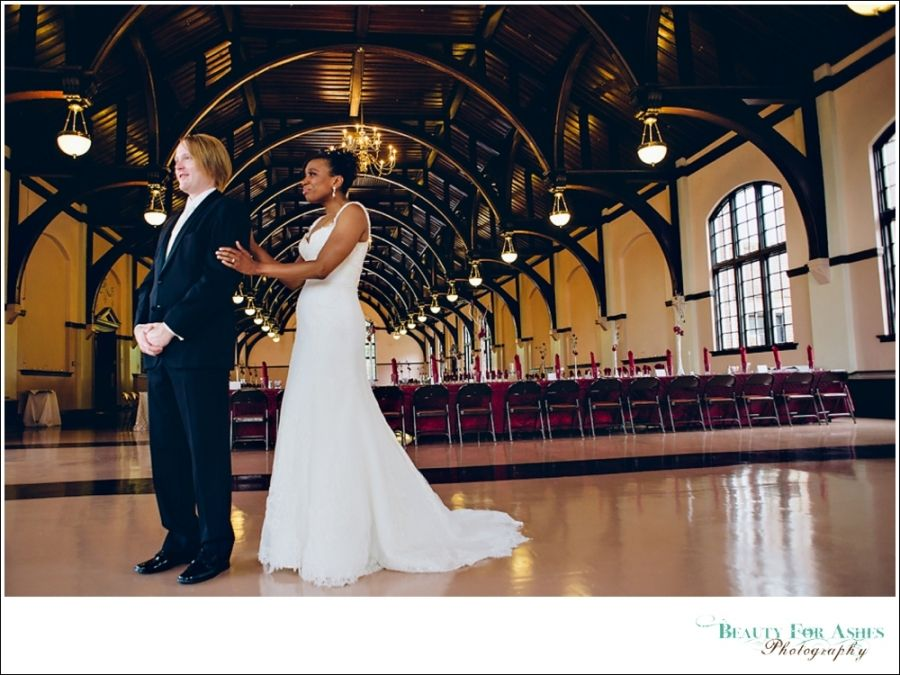A First Look For The Bride And Groom In Winthrop Universitys McBryde Hall
