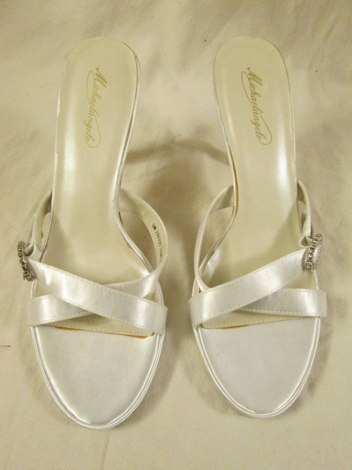 Michaelangelo White Satin 9M Samantha Bridal Formal Open Toe Heels Shoes Sandles