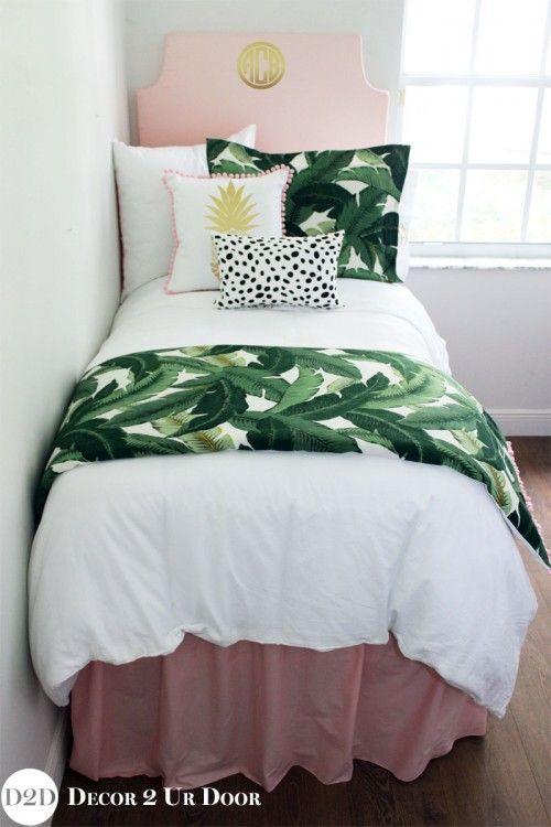 Tropical Palm Blush Dorm Bedding Set #gottahaveit