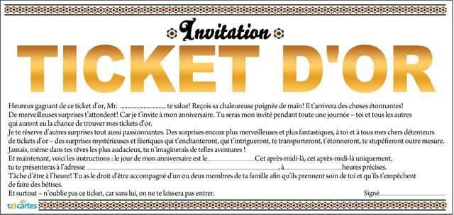 Fabuleux invitation anniversaire ticket d'or | Fête des meres | Pinterest  SF49