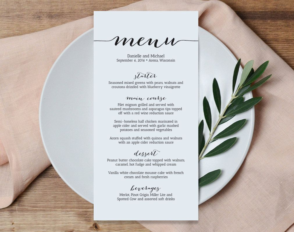 Wedding Menu Printable Template Printable Menu Menu Template