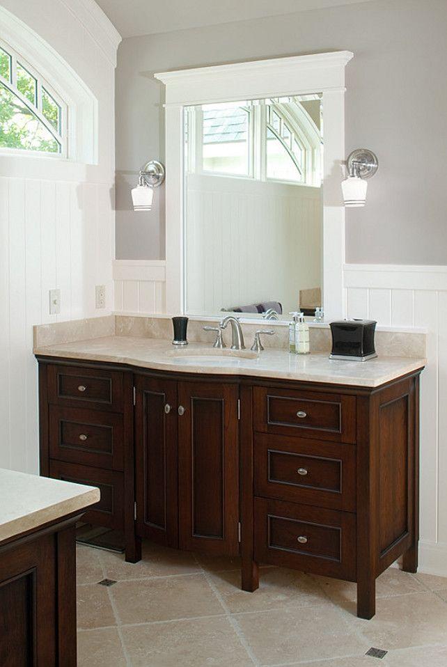 Paint Color Benjamin Moore Beacon Gray Nice Wainscoting Detail Basement Bathroom