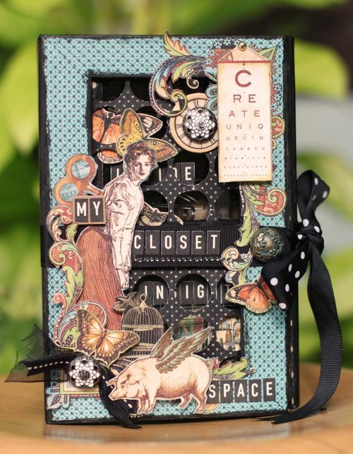 This is Sharon Ngoo's Olde Curiosity Shoppe 5x8 altered art box! Inside there is a whole incredible collection of miniature closet goodies! It is so incredibly detailed and whimsical, you must see inside! #graphic45