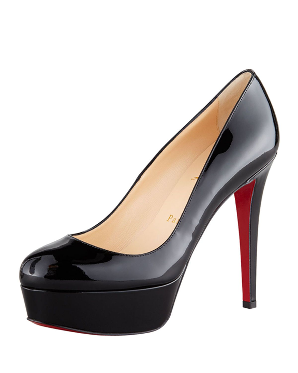 check out 01c43 6f5b8 Christian Louboutin Bianca Patent Leather Platform Red Sole ...