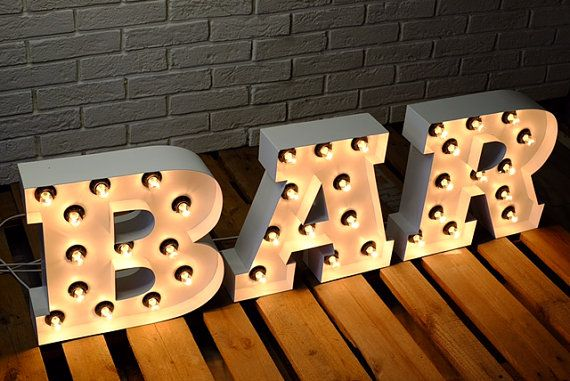 Metal Letters Large Or Small Bar Sign Industrial Decor Light Etsy Light Up Bar Sign Bar Signs Light Letters