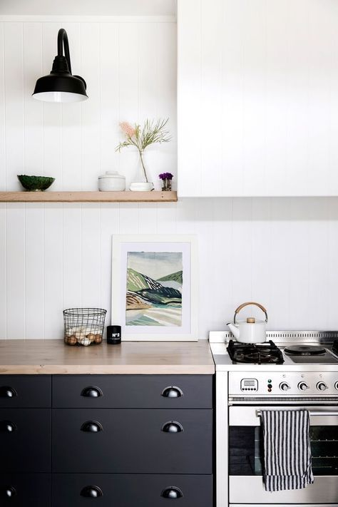 Clean And Minimalistic Styled Kitchen But I Love The Striped Towel Teapot