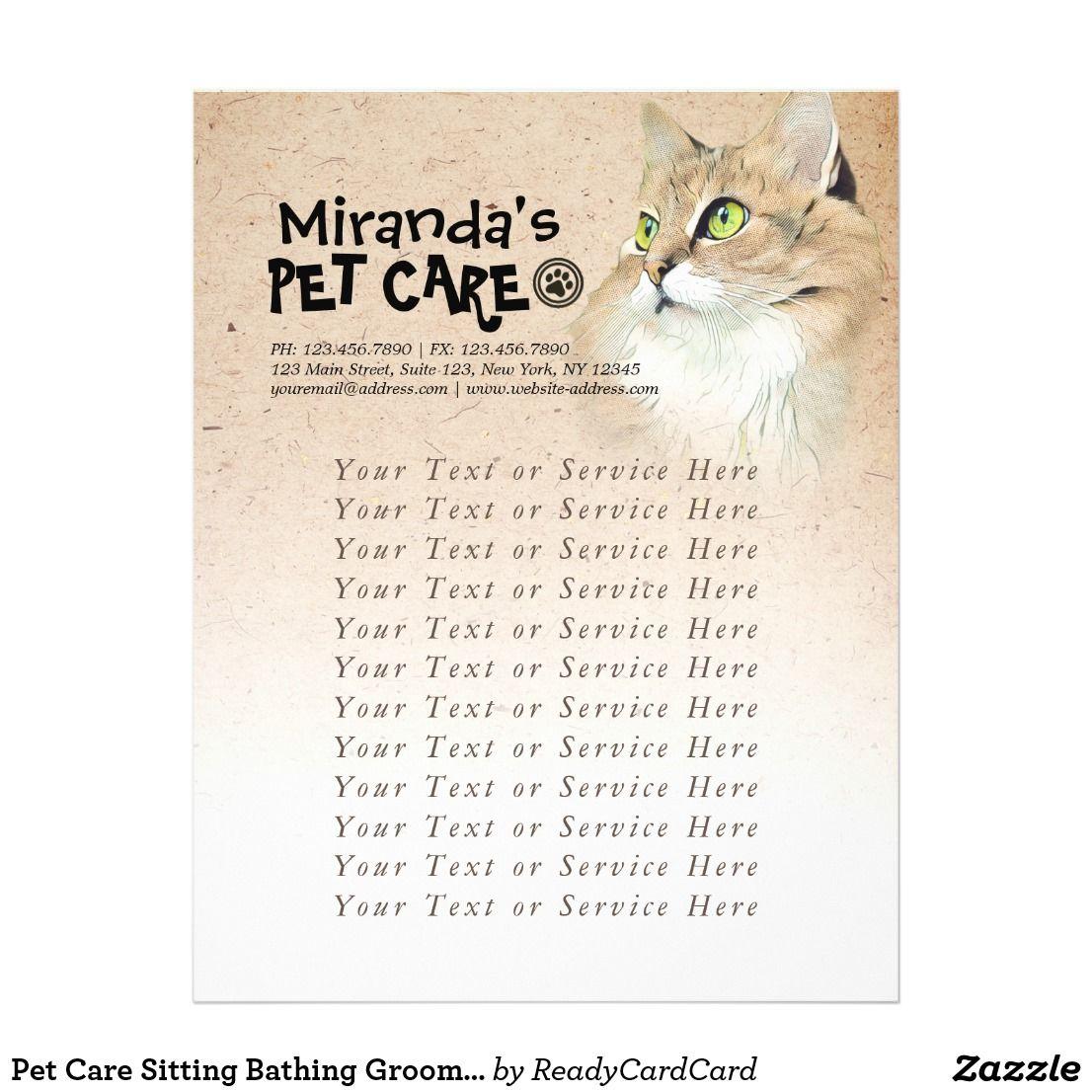 Pet Care Sitting Bathing Grooming Beauty Salon Cat Flyer Zazzle