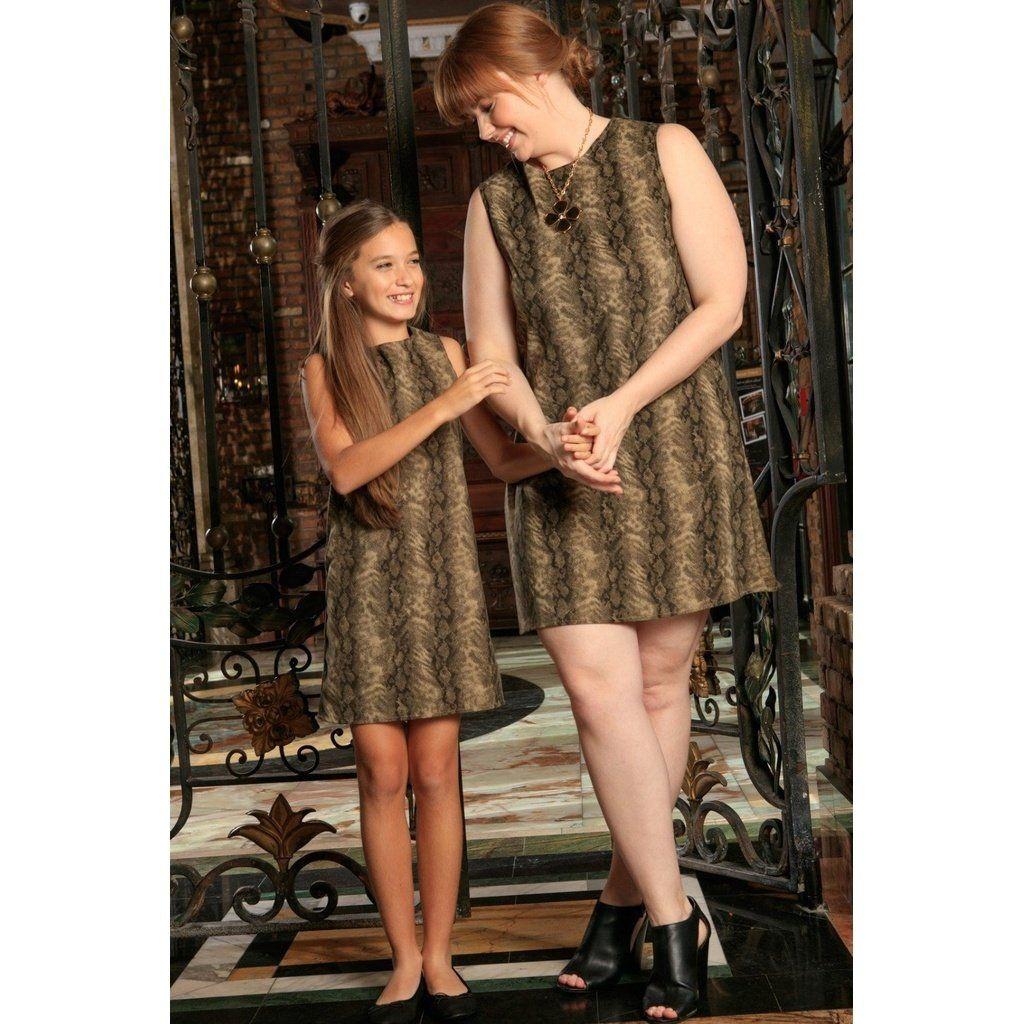 ae1c21c808e Sage Green Animal Print Sleeveless Mommy and Me Dresses Plus Size ...