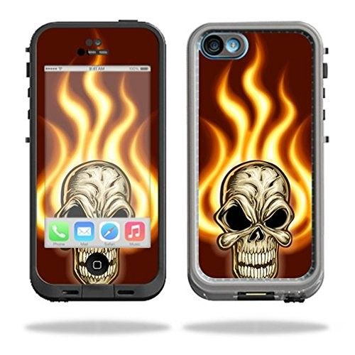 Mightyskins Protective Vinyl Skin Decal Cover for LifeProof iPhone 5C Case fre Case wrap sticker skins Burning Skull