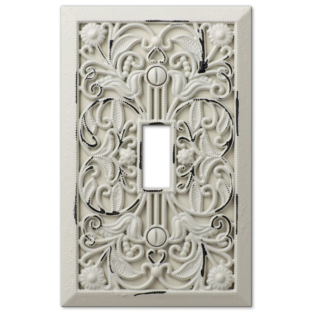 Filigree Antique White Cast 1 Toggle Wallplate Plates