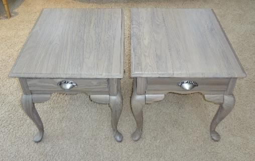 After Refinished wood end tables Driftwood finish with brushed