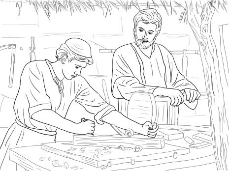 Young Christ Child and St Joseph the Carpenter Catholic Coloring