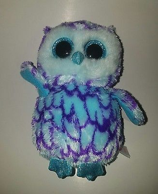 TY Beanie Boos - OSCAR the Blue Owl (Glitter Eyes) (Medium Size - 9 inch)  -MWMTs 257a4faa0734