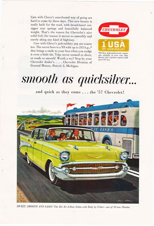 Vintage car ad by Chas Allen an illustration of a by route44west