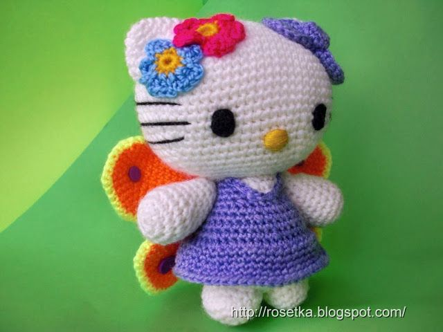 Розетка вяжет • Просмотр темы - Hello Kitty бабочка со схемой ...