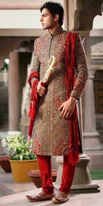Red Gold Embroidery Sherwani Indian Groom Attire For Indian