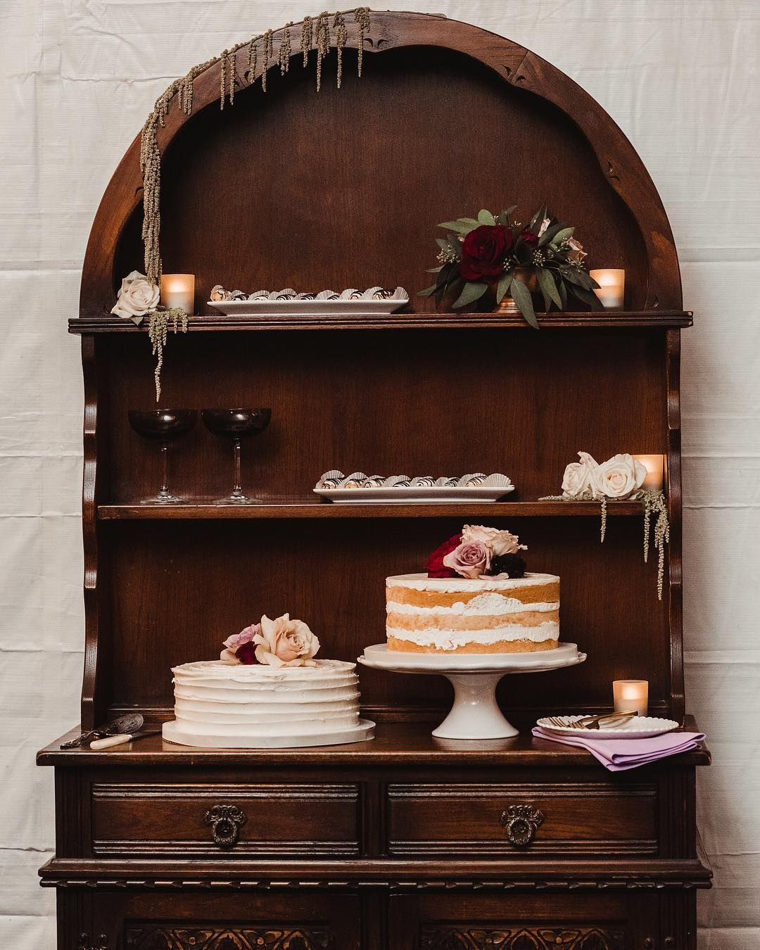 We Made It To Wednesday! Treat Yourself! 🍰 Rental Love : Curved Mahogany  Hutch / New Orleans Wedding U0026 Events / Lovegood Wedding U0026 Event Rentals