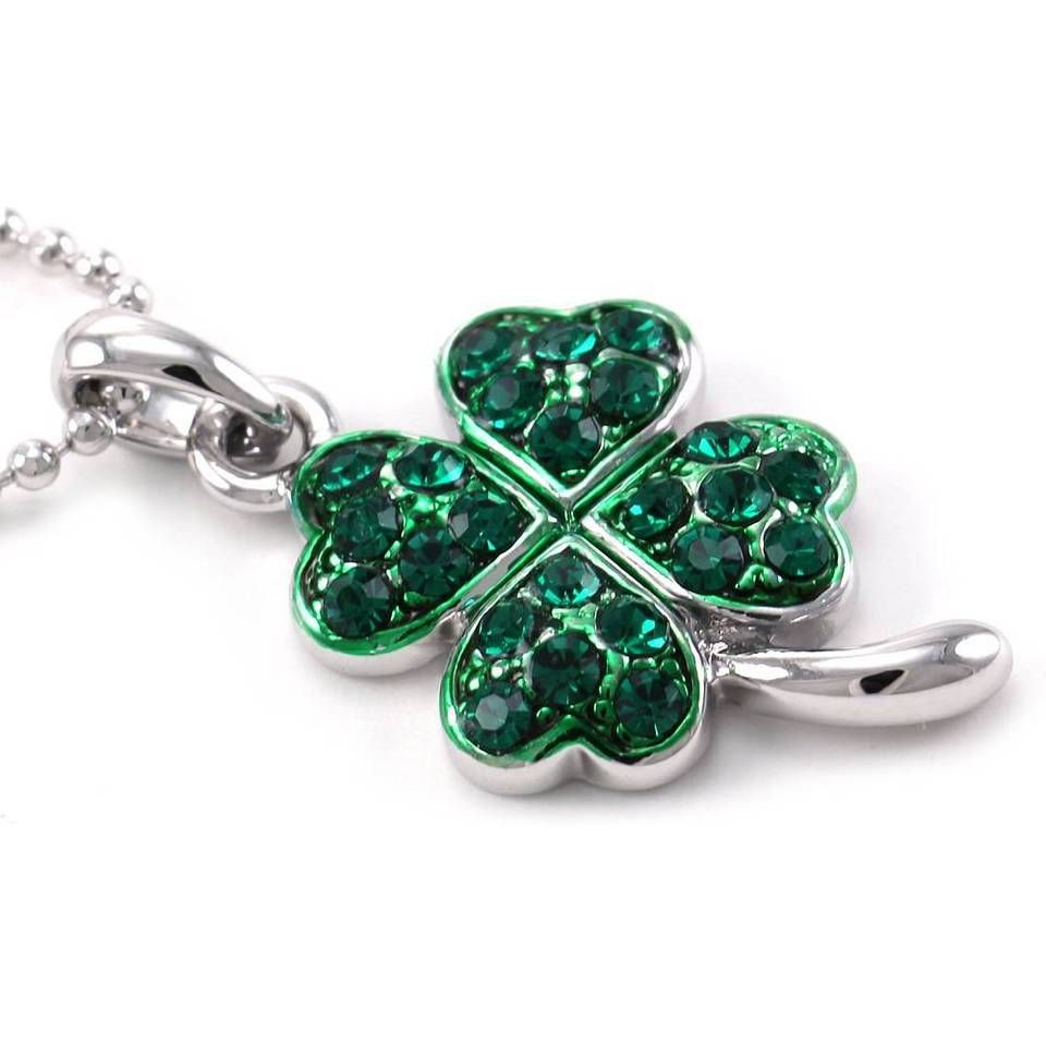 Green lucky shamrock necklace four leaf clover charm emerald green - St Patricks Day Irish Lucky Good Luck Charm Shamrock Four Leaf Necklace Pendant
