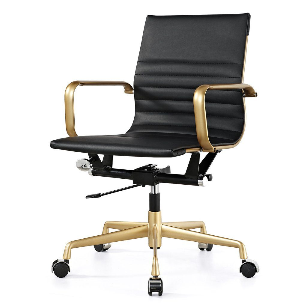 M348 Office Chair In Vegan Leather Chrome Navy Stylish