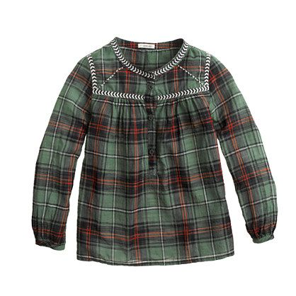 Girls' embroidered peasant top in green plaid - long sleeve - Girl's shirts - J.Crew