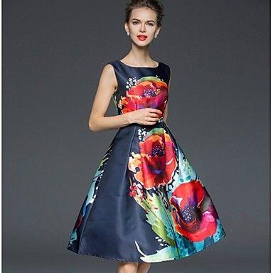 Women's+Vintage+Floral+A+Line+Sheath+Dress+,+Round+Neck+Knee-length+–+GBP+£+17.49