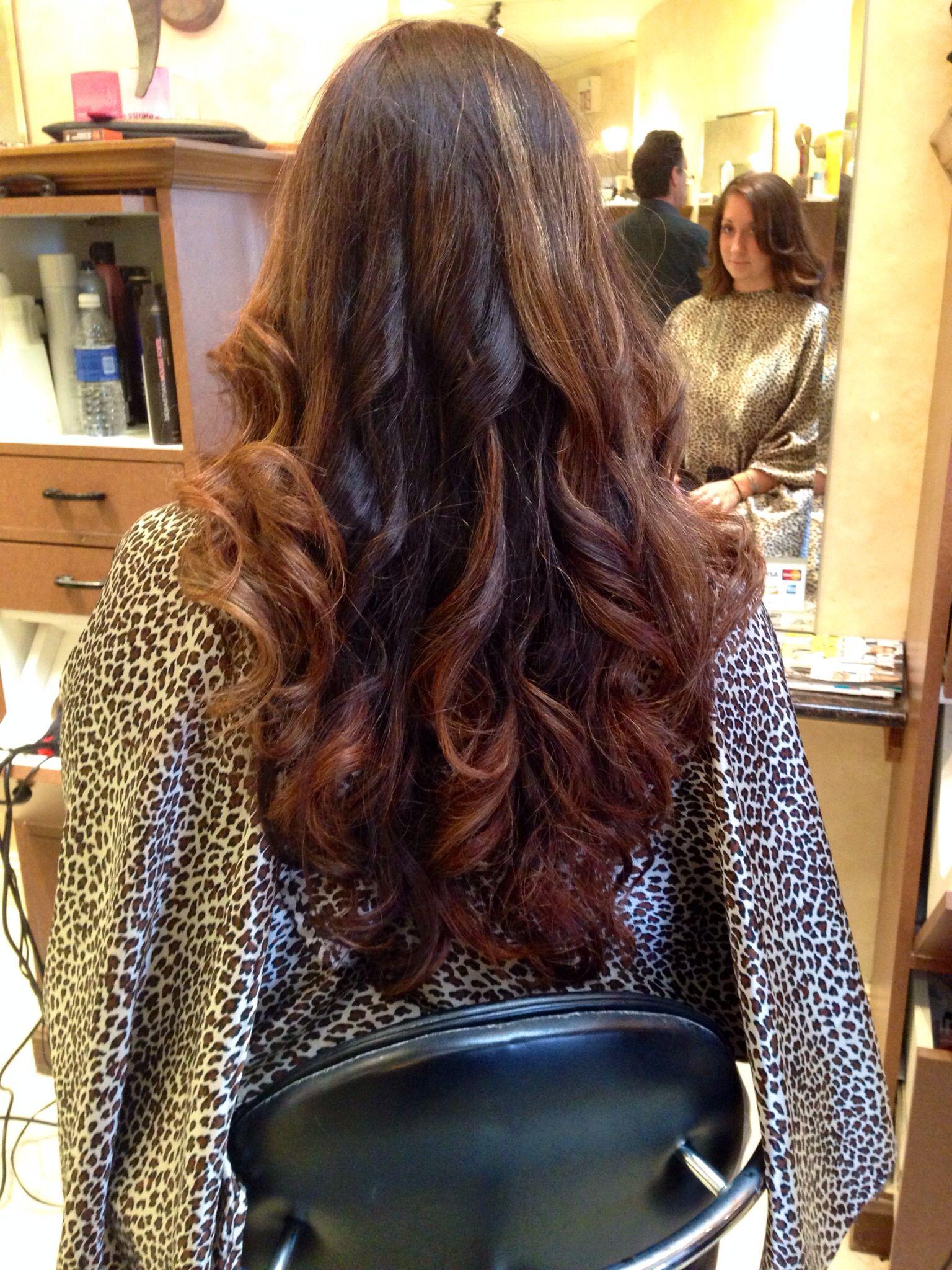 Dark Brown Hair With Carmel Ombr Highlights Hair Beauty Pinterest