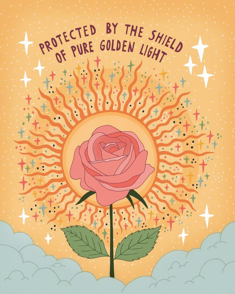 Protected by the golden light Framed Art Print by Asja Boros