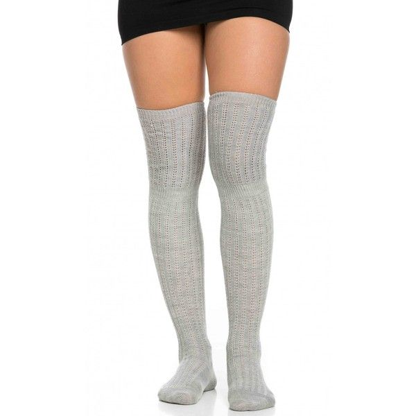 a339035c3 Ribbed Knit Thigh High Socks in Gray ( 12) ❤ liked on Polyvore featuring  intimates