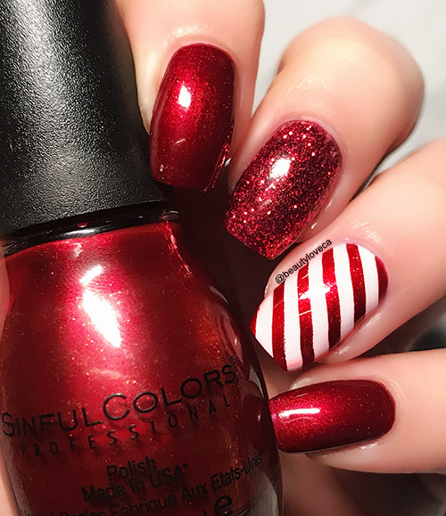 12 NAILS OF CHRISTMAS: Red & White Candy Cane Nails #christmasnails