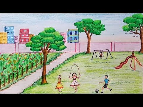 How To Draw Scenery Of Children S Play Step By Step Youtube