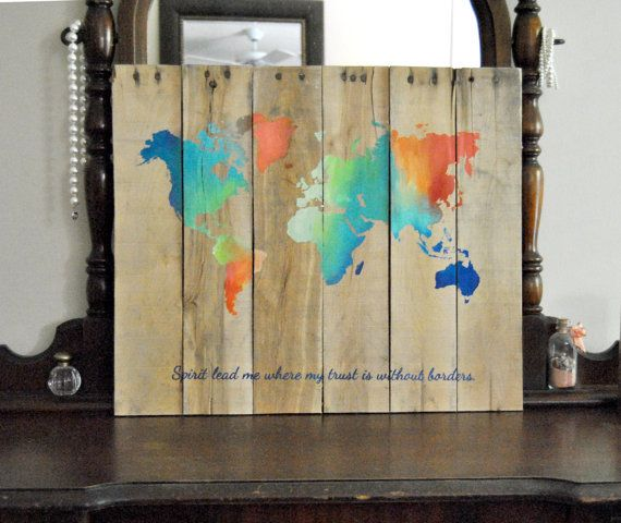 World map spirit lead me where my trust is without borders world map spirit lead me where my trust is without borders hillsong united hand painted pallet board sign gumiabroncs Choice Image