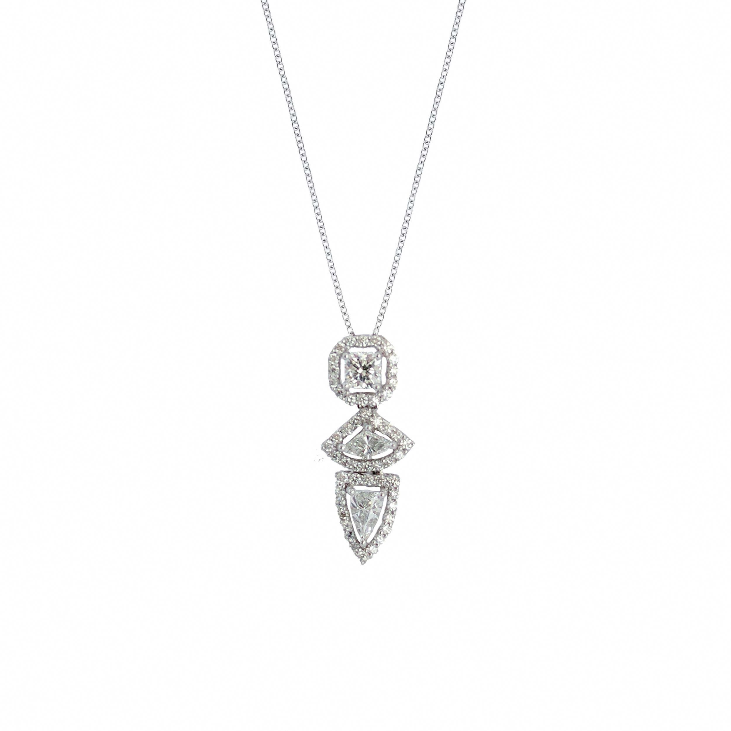 cff69a458 Three diamond vertical necklace with fancy shield shape, square, and mixed  shape diamonds with round ... #squarediamondnecklace