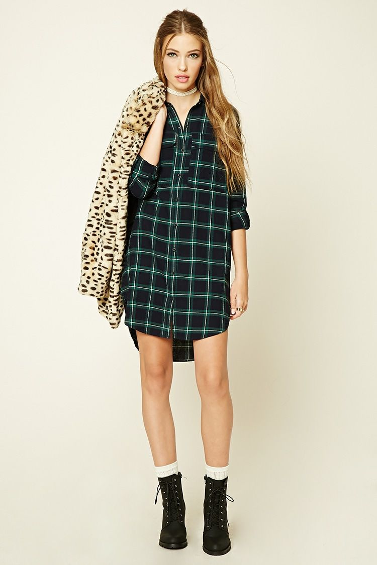 A plaid, flannel shirt dress featuring a boxy silhouette, basic ...