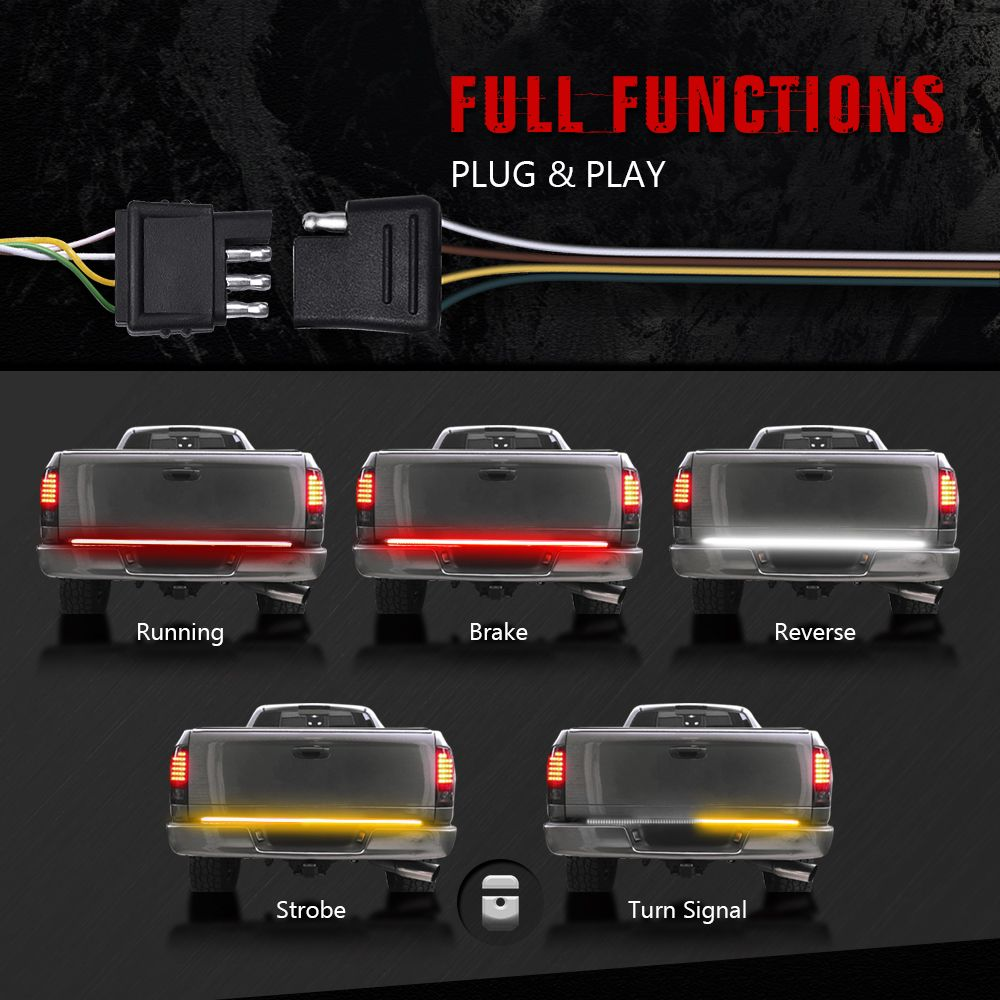 Mictuning Tailgate Light Bars Triple Row Tailgate Brake Light Bar With Sequential Amber Turn Signals Best L Led Tailgate Light Bar Bar Lighting Led Boat Lights