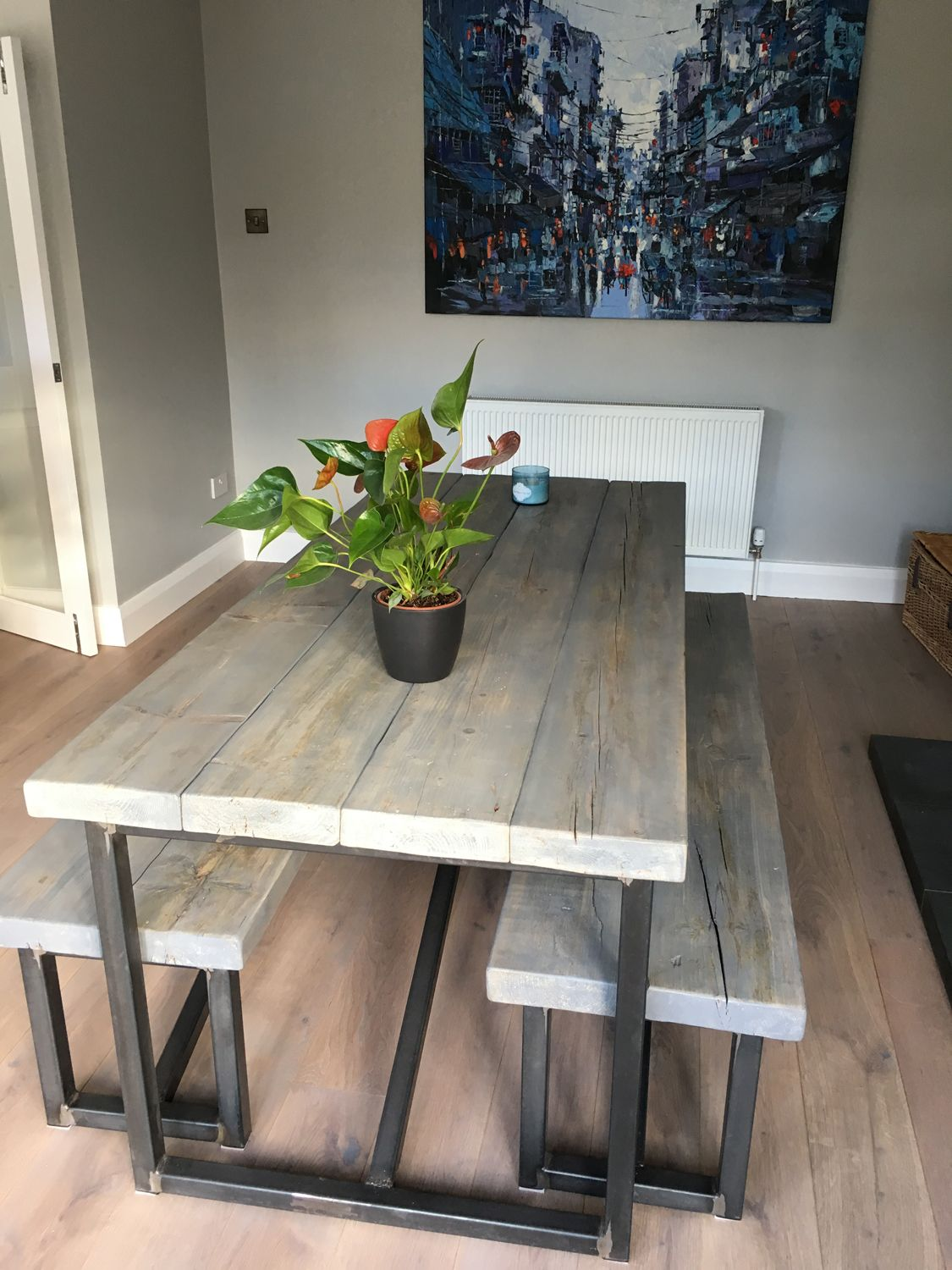 Industrial Style Reclaimed Wood Grey Washed Dining Table And Benches Www Reclaimedbespoke Co Uk Kitchen Table Wood Dining Table With Bench Dining Table