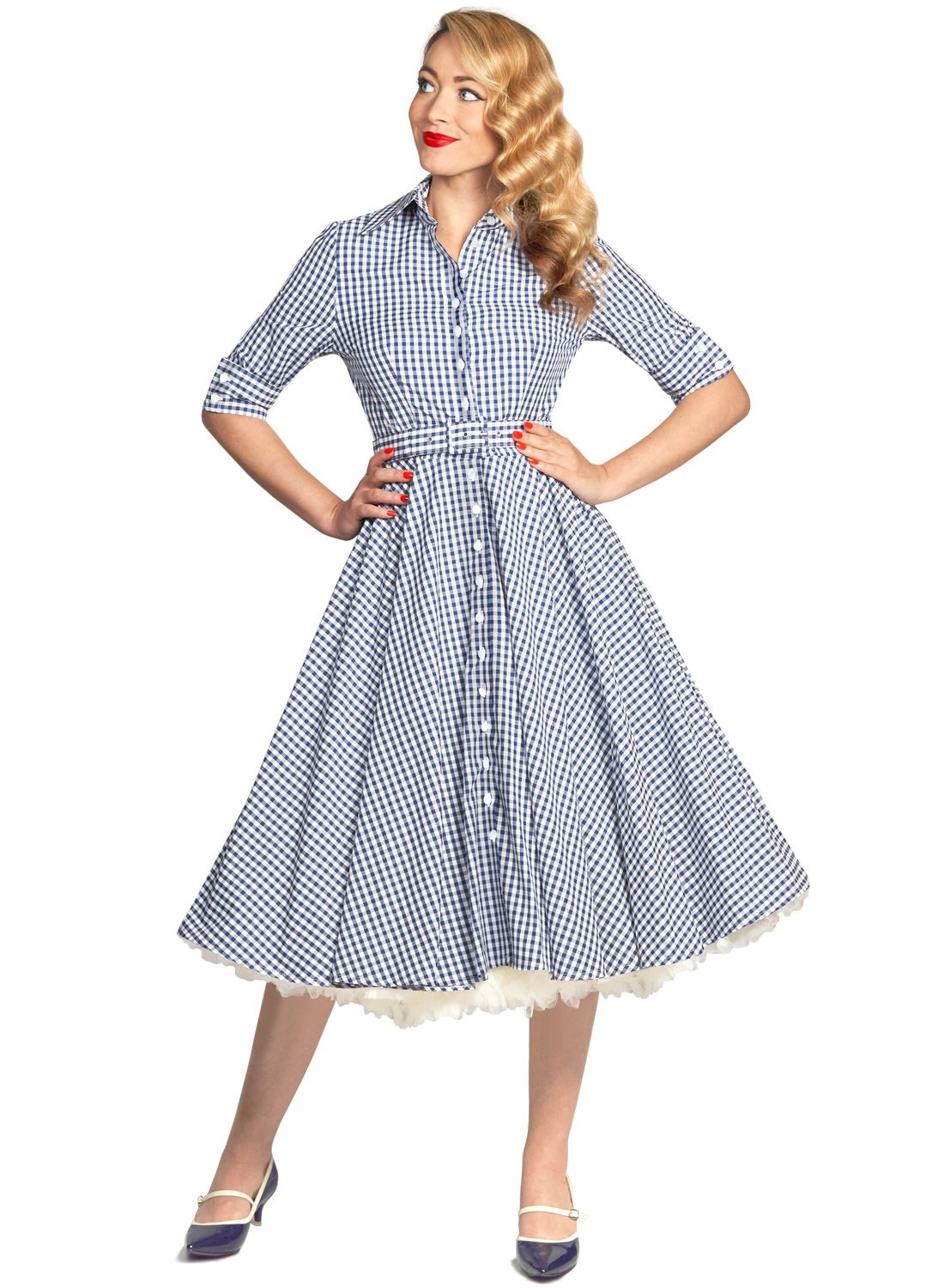 Way Out West  Navy Gingham Vintage 50s Style Swing Dress - British Retro.   2cd9ecef9a5f