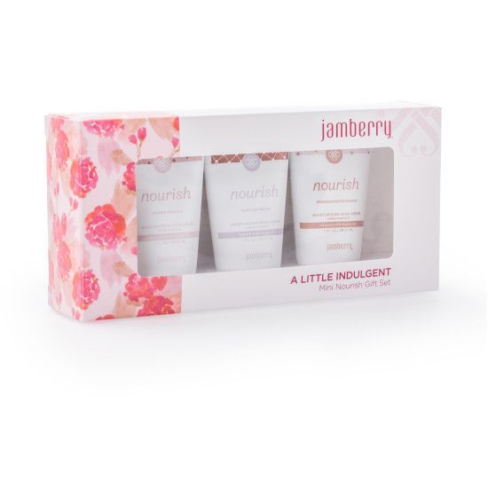 A little indulgent mini set! Featuring mini, 1 oz. bottles of our ultra-rich Nourish moisturizer in 3 wonderful scents - Pomegranate Mango, Ruffled Peony, and Sweet Vanilla - this set to leave your skin hydrated, soft and subtly scented. All perfectly packaged in a feminine-chic gift box. melody.cr10@yahoo.com