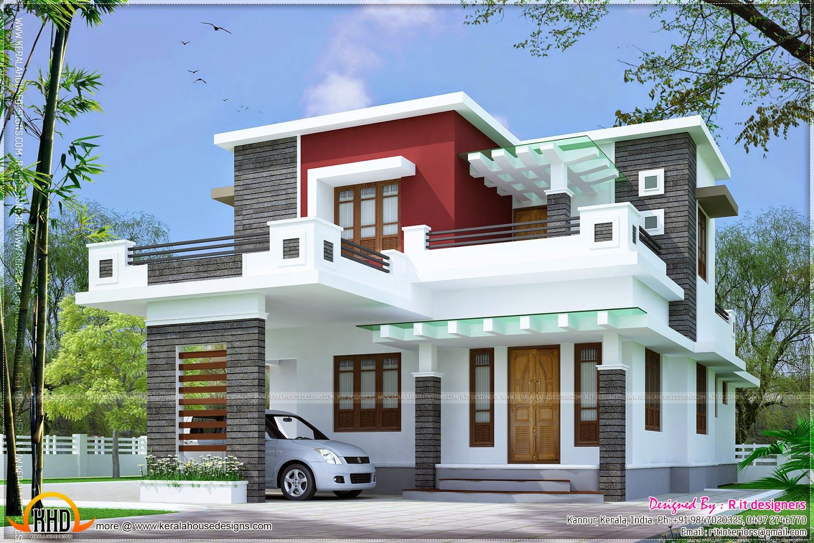 Free double storey house plans flat roof google search for Kerala home design flat roof elevation