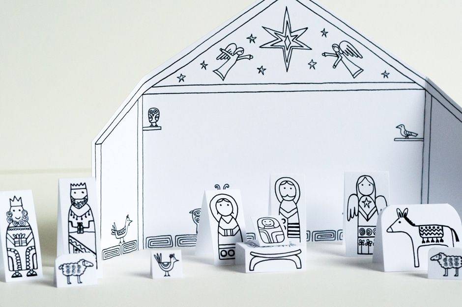 travel size paper city nativity scene advent. Black Bedroom Furniture Sets. Home Design Ideas