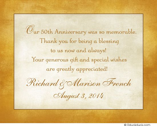 Folded Cardstock Inside With Customizable Verse Wedding Anniversary Message 50th Cards Golden