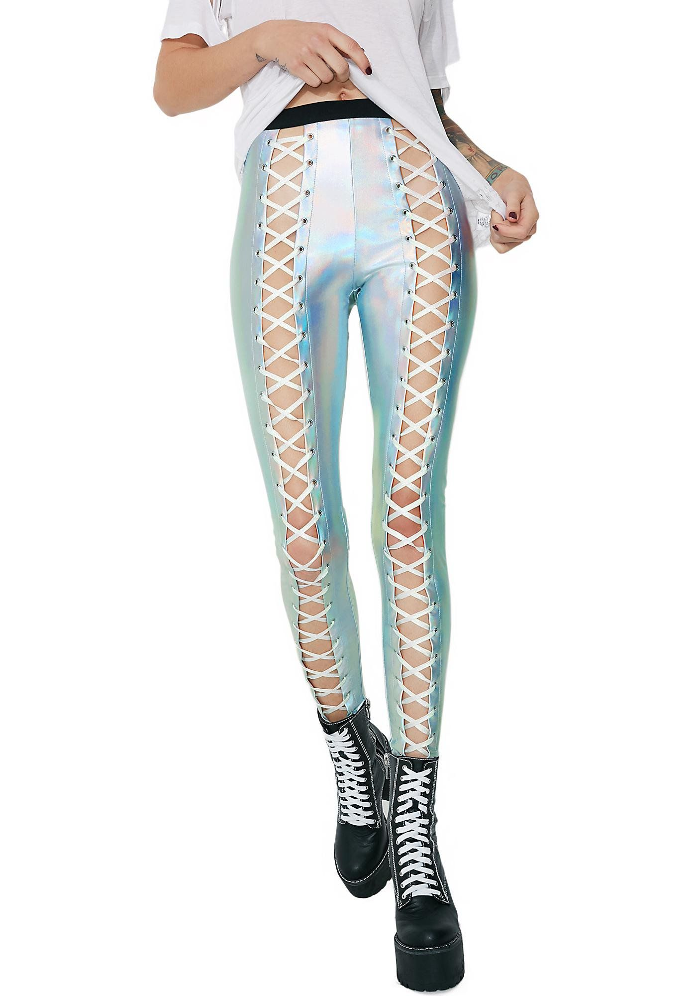 814991e852a8cd These insane leggings feature a mega shiny holographic silver construction  and sinfully snug stretchy fit, open lace-up front panels to show xXxtra  skin ...