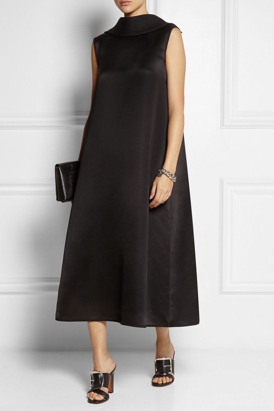The Row - Wool and silk-blend satin midi dress