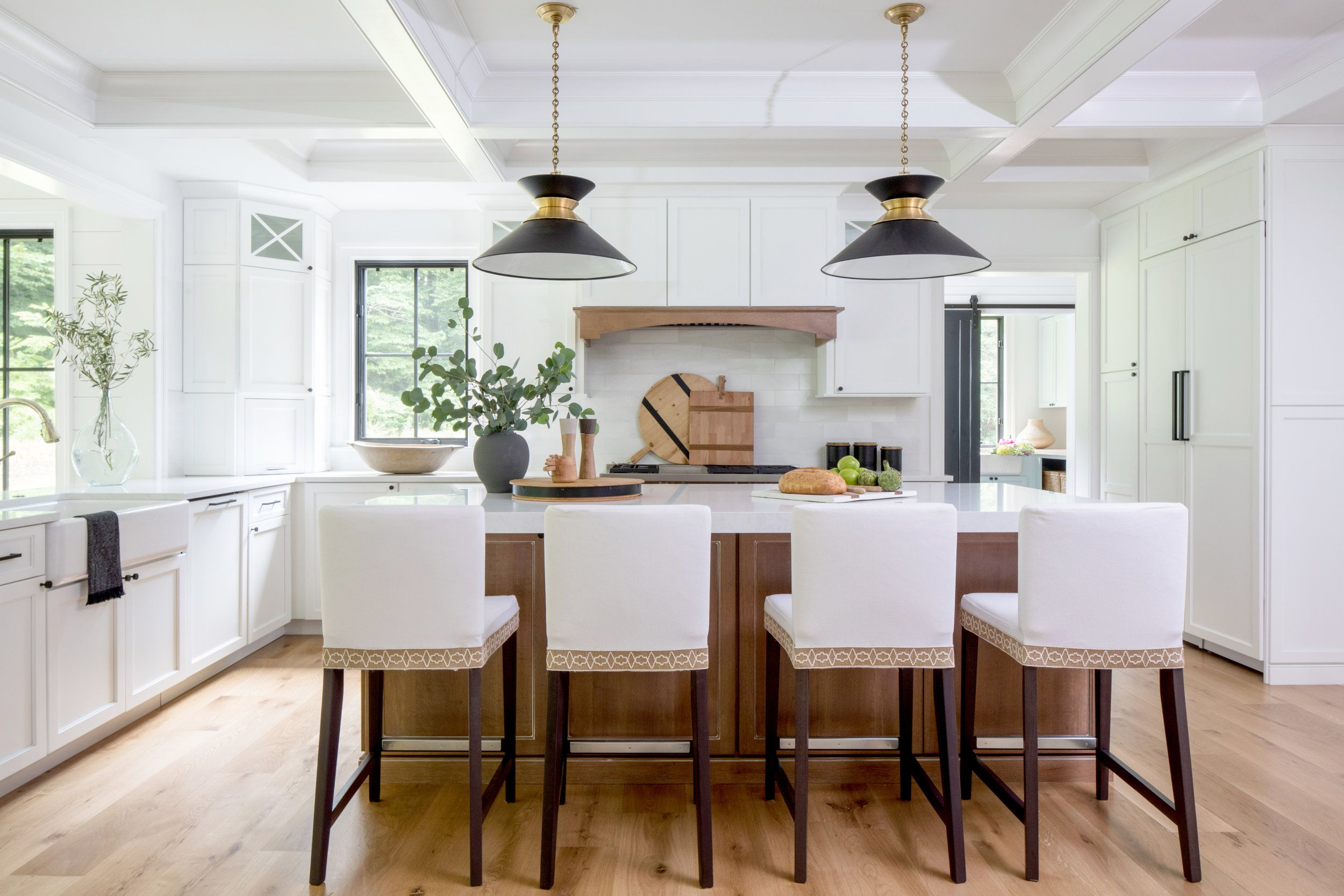 Kitchen Natural Wood Island White Black Hardware
