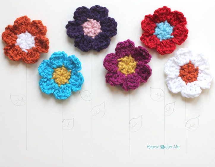 Simple Spring Crocheted Flowers   ganchillo flores   Pinterest ...