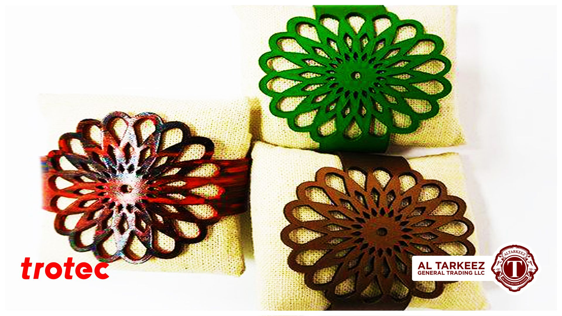 Laser cut leather bracelet with daisy sun pattern by TROTEC