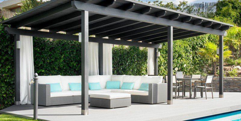 eine moderne pergola in grau mit passender rattan couch balkon pergola pergola mit dach und. Black Bedroom Furniture Sets. Home Design Ideas