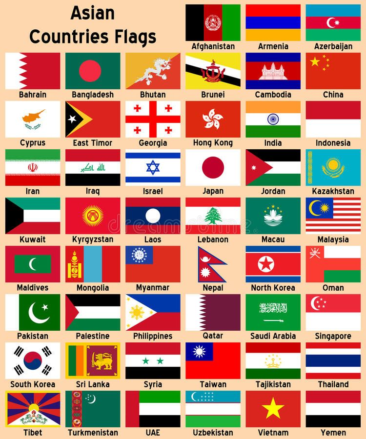 Asian Countries Flags Illustrations Showing All The Asian Countries Flags Afgh Spon Showing Countries And Flags All Country Flags World Country Flags