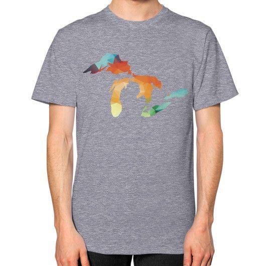 Michigan Geometric Great Lakes Unisex T-Shirt (on man)