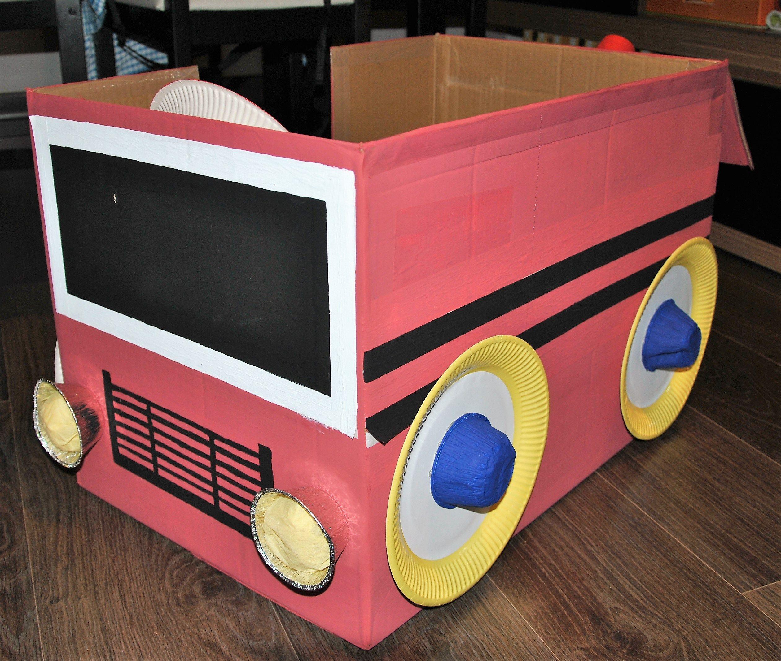 Cami n de bomberos con caja de cart n ideas bonitas reciclaje pinterest cart n caja de - Cajas de carton bonitas ...