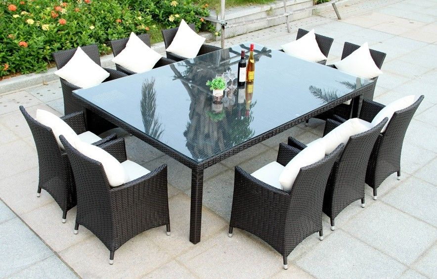 New Wicker BBQ Indoor Outdoor Cabana 10 Seater Table Set Black U0026 Brown  Available Http: